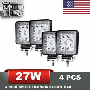 4 Pcs Square Led Work Light Pods Spot Lights For Truck Off Road Tractor 12v 24v