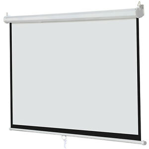 100 Inch Manual 16 9 Pull Down Projector Projection Screen Home Theater Movie