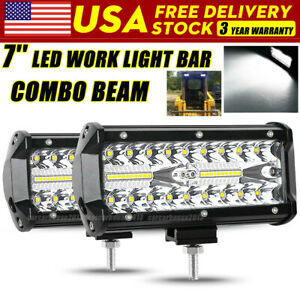 Pair 7 Inch Cree Led Pod Work Light Bar Driving Fog Lamp Spot Beam Truck 4wd 12v