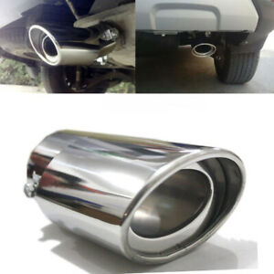 Car Exhaust Trim Tip Muffler Pipe Silver Chrome Tail Throat Pipe Stainless Steel