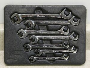 Snap On Tools 7 Piece Metric 4 Way Angle Open End Wrench Set Vsm807b Usa