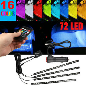 4x 72led Car Interior Rgb Atmosphere Neon Lights Strip Music Control Ir Remote