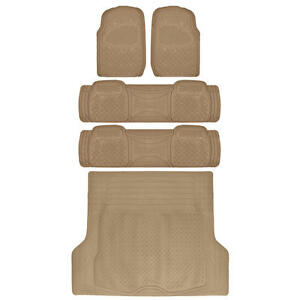 Heavy Duty Suv Rubber Floor Mats Combo Pack 3 Rows With Cargo Liner Beige