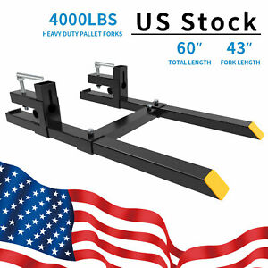 4000lbs 60 Tractor Clamp On Pallet Forks Bucket Quick Attach W Stabilizer Bar