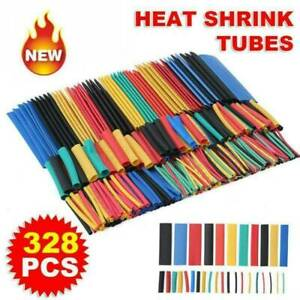 328pcs Cable Heat Shrink Tubing Sleeve Wire Wrap Tube 2 1 Assortment Kit Tool