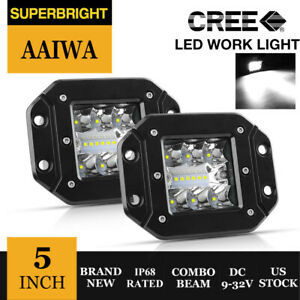 Pair 4 Inch Flush Mount Round Cree Led Work Light Gmc Fog Pods Driving Lamp 4wd