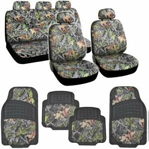 13pc Set Forest Camo Camouflage Car Truck Seat Covers With Hd Floor Mats
