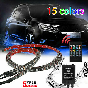 4pcs Waterproof Rgb Led Under Car Tube Strip Underglow Body Neon Light Kit 12v