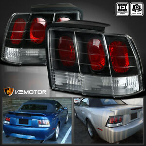 Black For 1999 2004 Ford Mustang Rear Brake Lamps Tail Lights Left Right