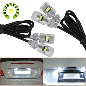 2x White Led License Plate Screw Bolt Lights Truck Car Side Marker Lamp 12v