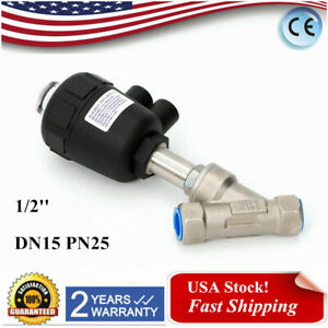 1 2 Dn15 Pneumatic Air Actuated Angle Seat Valve Single Acting Bspp Nc Us Stock