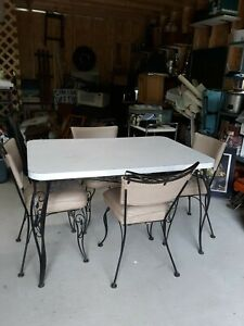 Vintage 1950 S 1960 S Kitchen Table Chairs Set Wrought Iron Base