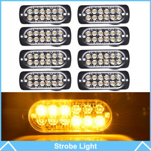 8pcs 12 Led Strobe Light Bar Amber Truck Hazard Beacon Flash Warn Emergency Lamp
