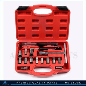17 Pcs Car Diesel Injector Seat Cutter Set Cleaner Carbon Remover Tool For Unive