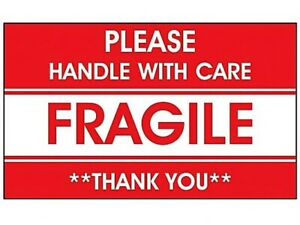 3x5 Large Fragile Warning Sign Stickers Handle With Care Thank You Labels Box