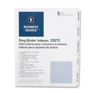 Business Source Erasable Tab Indexes 3hp 5 tabs 11 x8 1 2 white Case Pack 50