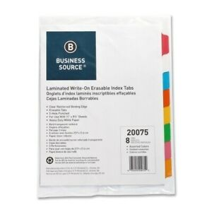 Business Source Write on Tab Indexes 8 tab 11 x8 1 2 8 Tabs st Case Pack 24