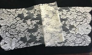 Very Vintage Salvage Remnants Panel Of White Lace Trim Guipure 40 X 12