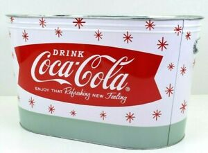 Coca Cola Coke Ice Bucket Large Oval Galvanized Metal Tin Party Tub Cooler NEW