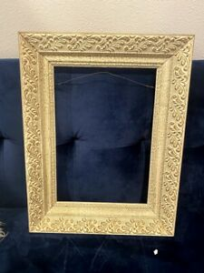Vintage Ornate Wooden Picture Frame Antique White Gold Accents Gorgeous