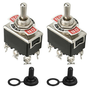 2pcs Waterproof 6pin Heavy Duty Boot Cap Dpdt Momentary Toggle Switch On off Amp