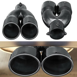 2 5 Universal Car Inlet Dual Rear Muffler Exhaust Tip Tail Pipe Outlet Black
