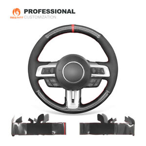 Black Suede Pu Carbon Fiber Steering Wheel Cover For Ford Mustang 2015 2020