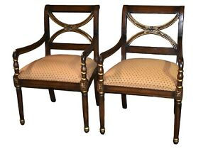 Pair Of Vintage Regency Style X Back Accent Chairs W Gold Highlights
