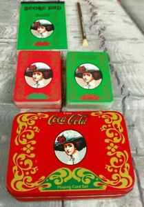 Vintage Coca-Cola Playing Cards In Tin Container With Two Decks A Pad & Pencil