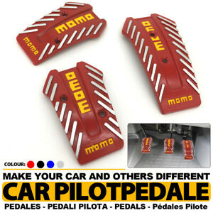 Red Universal Manual Mt Racing Sport Truck Car Non Slip Pedals Pad Covers Set