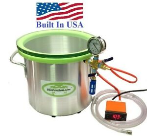 3 Gal Heated Vacuum Chamber Digital Temperature Controller W Temp Glass Lid