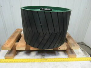 Conveyor Crowned Pulley Drum Roller 20 3 4 dx14 W rubber Herringbone Lagging
