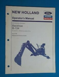 Vtg 1990 New Holland Ford Backhoe Attachment B 134 Operators Manual Bobcat Style