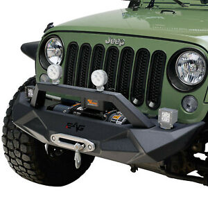 Fit For 07 18 Jeep Wrangler Jk Front Bumper W Winch Plate