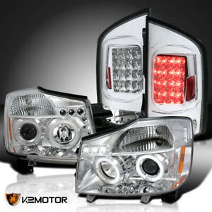 Fits 2005 2007 Nissan Armada Halo Projector Headlights Led Drl Led Tail Lamps