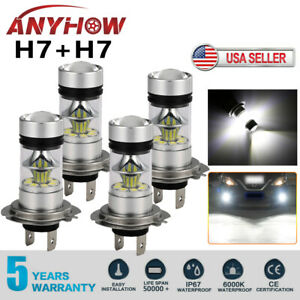 Combo H7 H7 Led High Low Beam Headlight Kit Fog Bulbs 240w 52000lm 6000k White