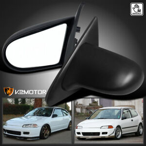 For 1992 1995 Honda Civic Eg Sport Spn Manual Adjustable Side Mirrors Black