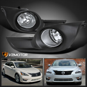 For 2013 2015 Nissan Altima 4dr Sedan Clear Bumper Fog Lights Lamps switch