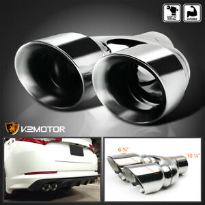 Inlet 2 6 Outlet 3 25 Muffler Tip Exhaust Tail Pipe Chrome Dual Round Rear