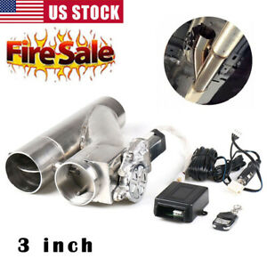 3 Inch 76mm Electric Y Pipe Exhaust Downpipe Cutout E Cut Out Dual Valve Remote