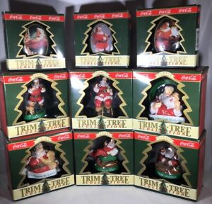 LOT OF 9 COLLECTIBLE COCA~COLA COKE TRIM-A-TREE CHRISTMAS TREE ORNAMENTS