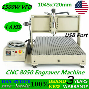 Usb 4 Axis Cnc Router 8050 Engraver Machine Milling drilling Woodworking 1 5kw