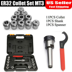 11 Precision Er32 Collet Set Mt3 Shank Chuck Spanner For Milling Machine Sale