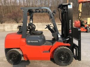 Toyota 7fgu35 Forklift Lift Truck 8000 Capacity Pneumatic Tires Sideshift