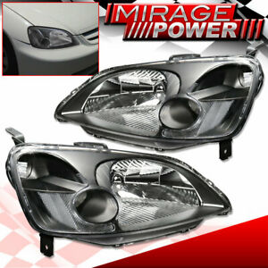 For 2001 2003 Honda Civic Replacement Front Driving Headlight Black Housing Jdm