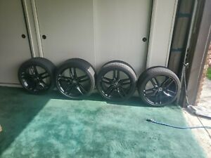 C7 Corvette Gloss Black Z51 Oem 19 20 Wheels Michelin Tire Package 2014 2019