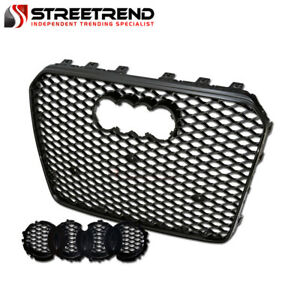 For 2013 2016 Audi A5 S5 B8 5 Rs Honeycomb Hex Mesh Front Bumper Grille Black