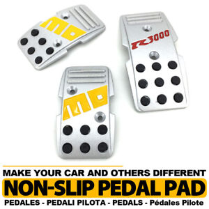 Universal Manual Mt Racing Sport Truck Car Non Slip Pedals Pad Covers Set Silver