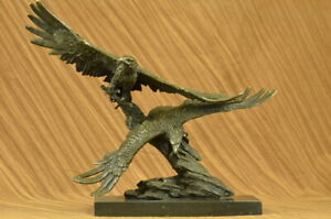Office Home Decor Bronze Sculpture Very Large Original Two Flying Eagle Bronze