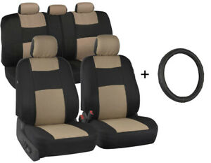 Car Seat Covers Front rear Leather Steering Wheel Cover Universal Tan Beige
